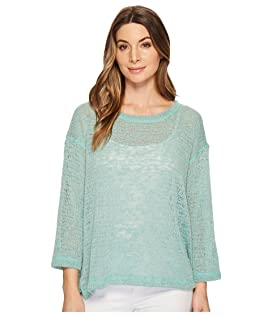 Oversize Open Knit Top with Side Slits