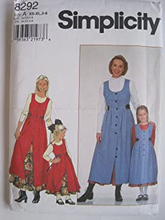 Simplicity Pattern 8292 Girls' and Misses' Jumper and Petticoat, A (XS-XL, 3-8)