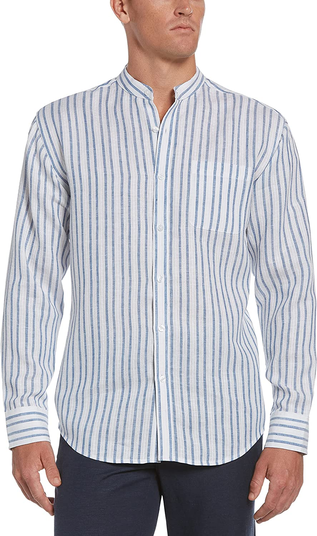 Cubavera Men's Standard Long Sleeve L Excellent Stripe Yarn Dobby C Sh Free shipping Dye