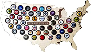 USA Beer Cap Map Beer Cap Display – Domestic and Craft Beer Bottle Cap Holder - Man Cave Décor, Bar Decor with 51 Slots - 22 x 12 Inches