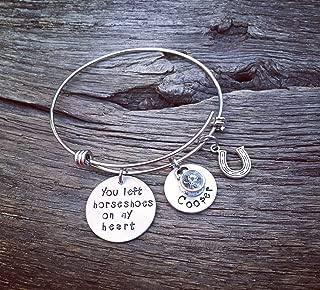 You Left Horseshoes On My Heart Memorial Bracelet | Horse Memorial Jewelry Pet Memorial Jewelry | Rainbow Bridge Jewelry | Pet Sympathy Gift