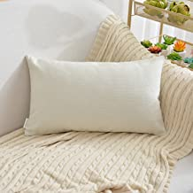 NATUS WEAVER Soft Linen Blended Burlap Lumbar Throw Pillow Covers Caddice Feel Accent Cushion Cover for Bed, 12 x 20, Ivory