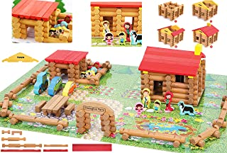 Wooden Logs Toys Farm Playset- Wooden Logs Building Set Farm House Wooden Construction Toys 207 Pieces Animal Farm - Wooden Building Toys for 3 4 5 6 Year olds