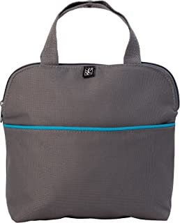 J.L. Childress MaxiCOOL 4 Bottle Breastmilk Cooler, Baby Bottle and Baby Food Bag, Insulated and Leak Proof, Ice Pack Included, Grey/Teal