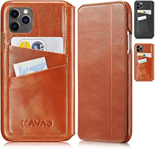 """KAVAJ Case Compatible with Apple iPhone 12/12 Pro 6.1"""" Leather - Dallas - Cognac Brown Wallet Folio Cover with Card Holder"""