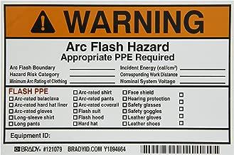 Brady 121079 Vinyl Write-On Arc Flash Labels (Warning) , Black/Orange On White,  4