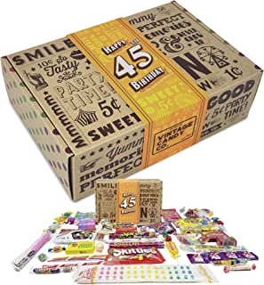 VINTAGE CANDY CO. 45TH BIRTHDAY RETRO CANDY GIFT BOX - 1974 Decade Childhood Nostalgic Candies - Fun Funny Gag Gift Basket - Milestone 45 Birthday PERFECT For FORTY FIVE Year Old Man | Woman