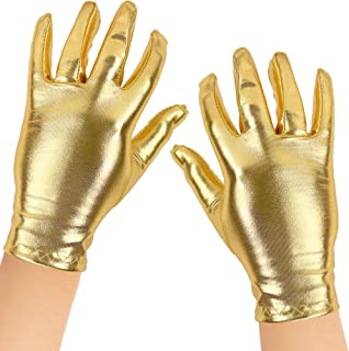 Skeleteen Metallic Gold Costume Gloves - Shiny Gold Princess Evening Stretch Dress Glove Set for Men, Women and Kids