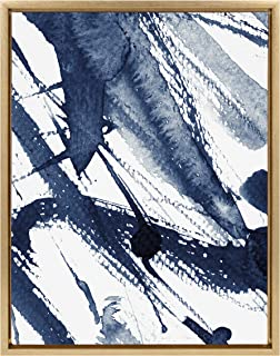 Kate and Laurel Sylvie Indigo Watercolor Abstract Print Framed Canvas Wall Art by Amy Peterson, 18x24 Gold