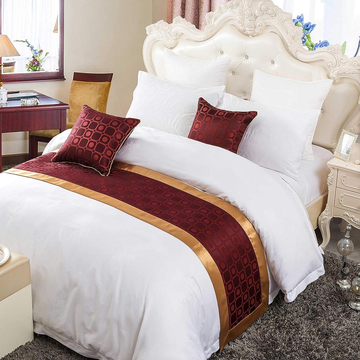 写真のいらいらさせる移動するOSVINO ベッド用品 ベッドアクセサリー ベッドライナー ホテル 自宅 ベッドスロー ジャガード織り 上品 落ち着いた色合い 手軽に高級ホテルの雰囲気を再現 シングル/セミダブル/ダブル (レッド, シングル180x50cm)