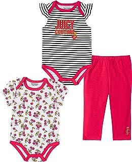 Juicy Couture Baby Girls` 3 Pieces Bodysuit Pants Set