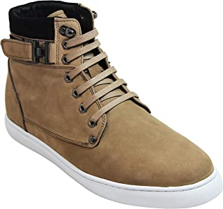 CALTO Men's Invisible Height Increasing Elevator Shoes - Nubuck Leather Lace-up Fashion Sneakers - 2.6 Inches Taller