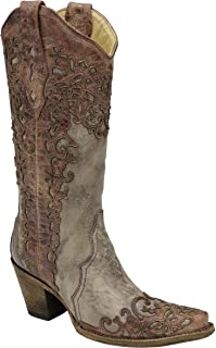 Corral Women's Sand and Cognac Laser Overlay Cowgirl Western Boot