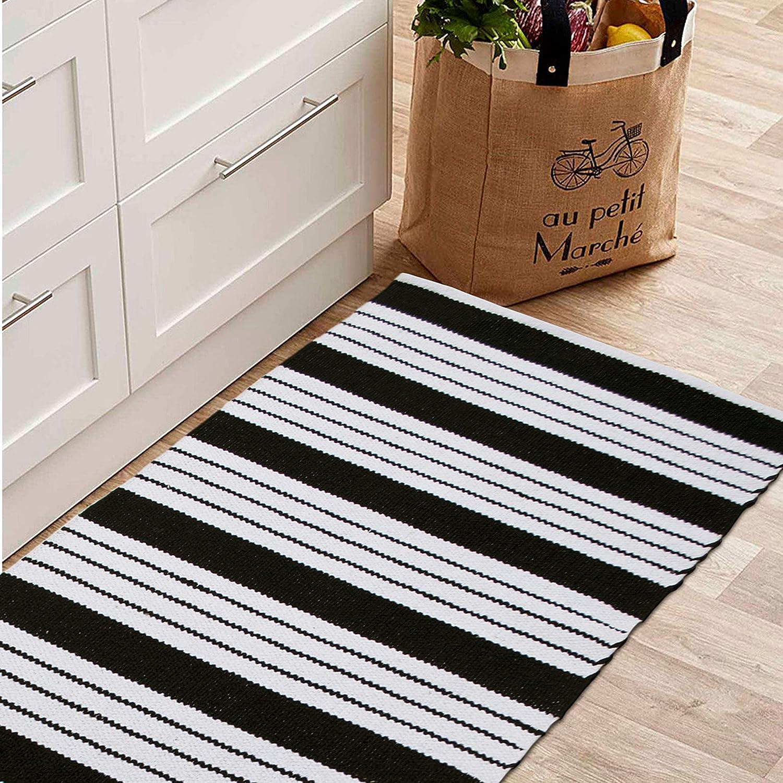 Chardin Home- Cabana Stripe : Hand Woven Recycled Cotton Rug. Machine Washable. (21''x34''), Black-White.