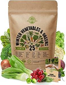 25 Winter Vegetable Garden Seeds Variety Pack for Planting Outdoors & Indoor Home Gardening 6500+ Non-GMO Heirloom Veggie Seeds: Broccoli Beet Carrot Collard Lettuce Radish Spinach Pea Kohlrabi & More