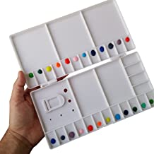 Large Watercolor Folding Plastic Palette - 33 Mixing Wells - Box Cover Lid Opens Flat For Art Studio + Thumbhole For Plein Air Painting - Rigger Art Acrylic Palettes 10.2