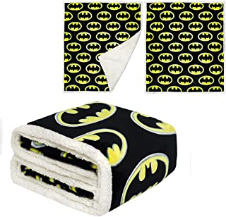 "JPI Sherpa Fleece Throw Blanket - Batman Emblem - Sherpa Faux Fur Fleece Blanket Large 50""x 60"" - Use as Couch Cover, Sofa Cover, Bed Cover, Beach Blanket, Picnic Blanket, on Beds & Sofa Bed"
