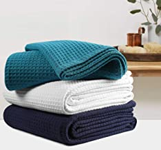 Farmhouse Cotton Thermal Blanket in Waffle weave -90x90Full Queen Teal,Snuggle Super Soft Blanket,Breathable Cozy Cotton Blankets,Full Queen Blanket,Teal Blanket,Light Thermal Blanket,Soft Blanket