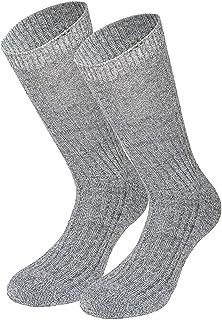 Tobeni, 3 Pares de Calcetines Noruegos sin Pretina de Goma amigable para las Venas - Suela de Felpa 100% Lana