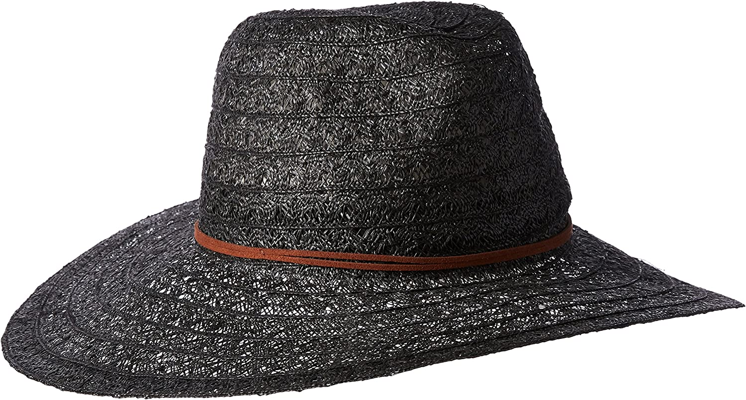 'ale by alessandra Womens Prescott Lace Weave Toyo Fedora with Leather Trim Hat