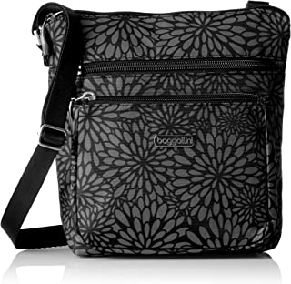 womens Pocket Crossbody With Rfid Cross Body Handbag, Pewter Floral, One Size US