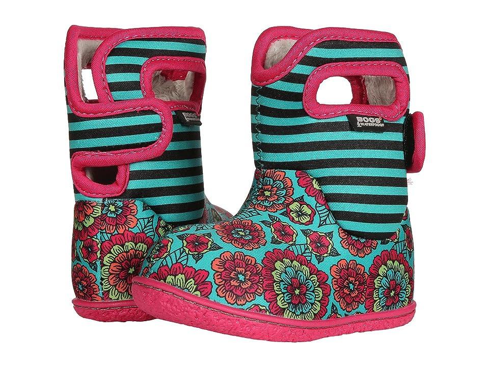 Bogs Kids Baby Bogs Pansy Stripe (Toddler) (Emerald Multi) Girls Shoes