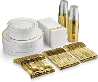 350 Piece Gold Dinnerware Set - 50 Guest Gold Rim Plastic Plates - 50 Gold Plastic Silverware - 50 Gold Plastic Cups - 50 Linen Like Gold Paper Napkins, 50 Guest Disposable Gold Dinnerware Set