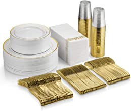 350 Piece Gold Dinnerware Set - 100 Gold Rim Plastic Plates - 50 Gold Plastic Silverware - 50 Gold Plastic Cups - 50 Linen Like Gold Paper Napkins, 50 Guest Disposable Gold Dinnerware Set