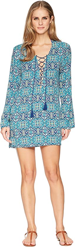 Tuvalu Lace-Up Front Tunic Cover-Up
