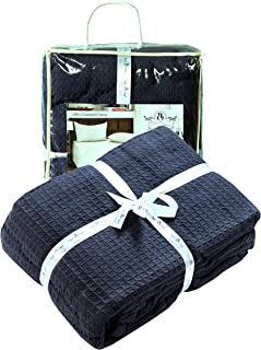 Farmhouse Cotton Thermal Blanket in Waffle weave -90x90Full Queen NAVY,Snuggle Super Soft Blanket,Breathable Cozy Cotton Blankets,Full Queen Blanket,Navy Blanket,Light Thermal Blanket,Soft Blanket
