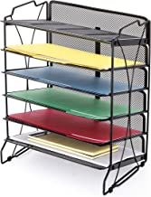 CAXXA Stackable 6 Compartment Mesh Tray Desktop Organizer Document Letter Paper File Tray Sorter | Office and Home, Black