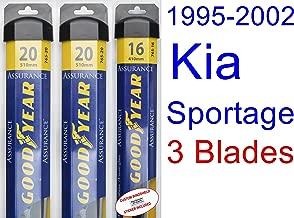1995-2002 Kia Sportage Replacement Wiper Blade Set/Kit (Set of 3 Blades) (Goodyear Wiper Blades-Assurance) (1996,1997,1998,1999,2000,2001)