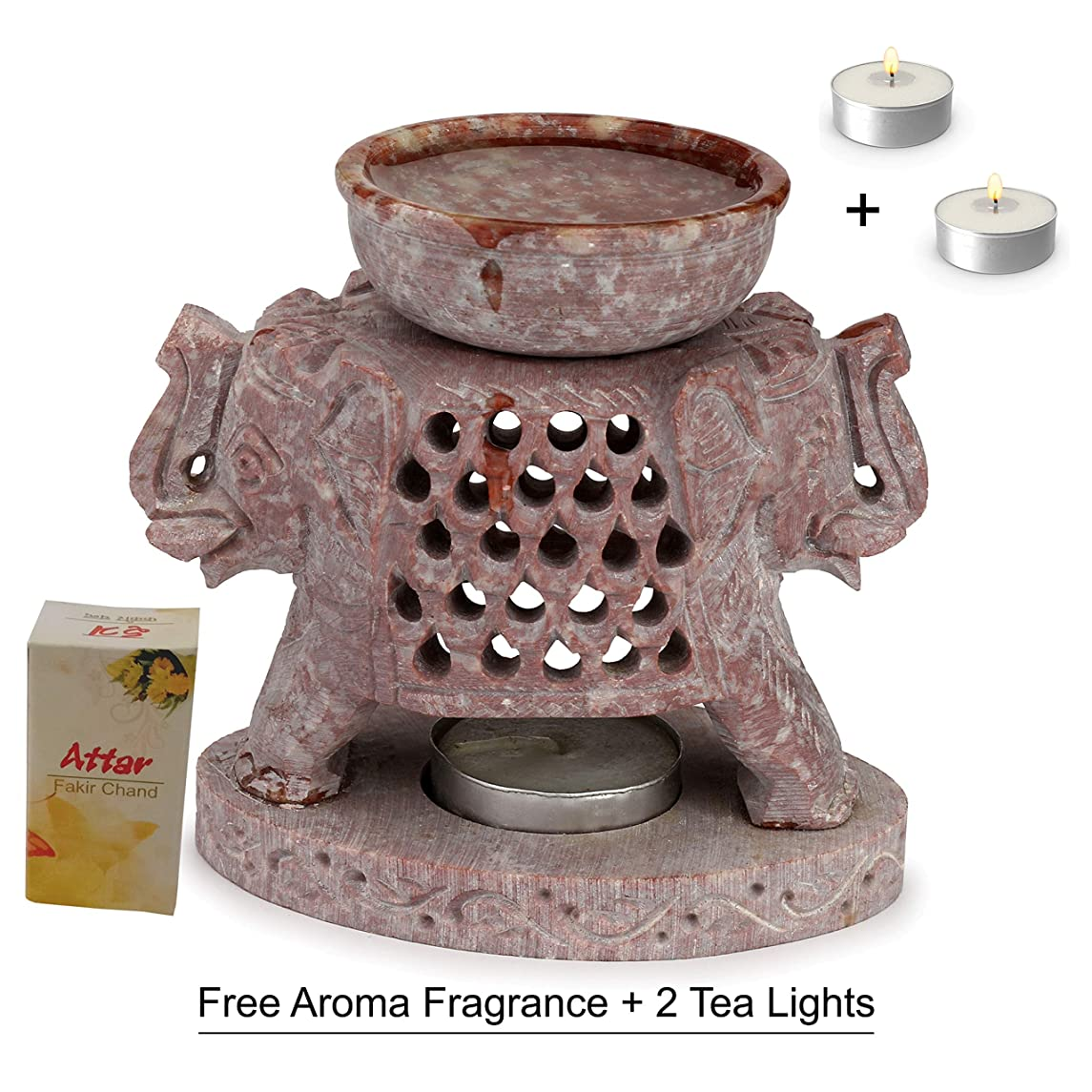 Carry ME Handcrafted Marble Soapstone Elephant Aroma Diffuser/Oil Warmer/Wax Burner for Home/Kitchen Decor- Free 2 Long Lasting Candle Tea Lights and 2.5 ML Bottle of Aroma Oil (Mogra)