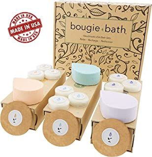 Handmade Spa Bath Gift Set - USA made 3 Relaxing All-in-One Kit, Bath Bomb, Soy Candle, Facial Sponge. Natural Shea & Cocoa Butter for Dry Skin. Gift Idea for Her Women Wife Birthdays Baskets In Laws