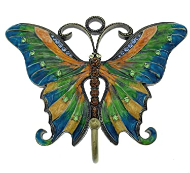 Kubla Crafts Enameled Butterfly Wall Hook, Blue, Orange, Yellow & Green, Accented with Austrian Crystals, 5.75 Inches Wide