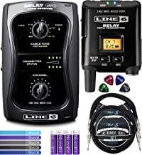 Line 6 Relay G50 Wireless Guitar System Bundle with 9V DC Power Supply, Blucoil 2-Pack of 10-FT Mono Instrument Cables, 5-Pack of Reusable Cable Ties, 4X Guitar Picks, and 4 AA Batteries