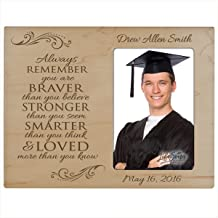 LifeSong Milestones Personalized Graduation Photo Frame for 2016 Graduate Ideas for Men and Women Custom Picture Frame Always Remember You are Braver Than You Believe (Maple)