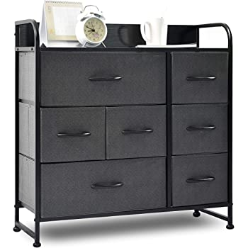 Amazon Com Charahome Drawer Dresser Gray Dresser Organizer With 7 Drawers Fabric Dresser Storage Tower For Bedroom Hallway Entryway Closets Sturdy Steel Frame Wood Top Handles Kitchen Dining