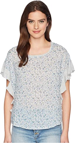 TWO by Vince Camuto Floral Woven Front Top