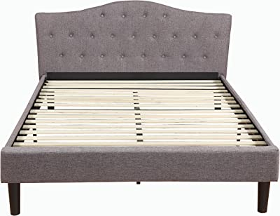 Divano Roma Furniture Tall Size Upholstered Platform Frame and Tufted Panel Headboard with Mattress Foundation and Solid Wood Slat Bed Support, Spring Needed-Box Replacement, Full, Grey