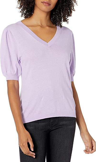 The Drop Women's Cindy Short Puff Sleeve Crew Neck Sweater