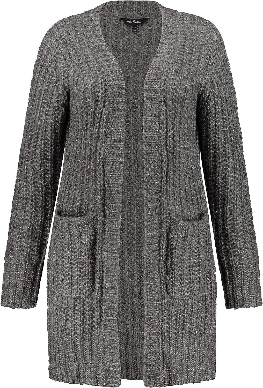 Ulla Popken Womenswear Plus Size Curvy Oversize Metallic Touch Open Front Cardigan Sweater 751296