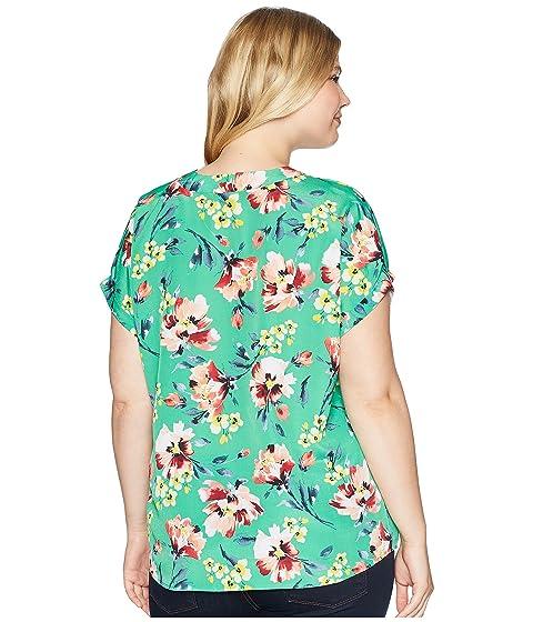 con Multi Plus estampado en con y Talla de Ralph V cuello LAUREN crepé floral Lauren wxPqv6nnES