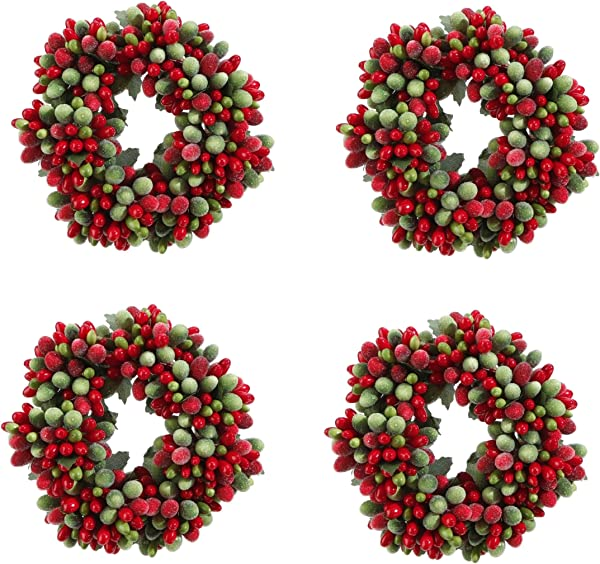 Christmas Red Green Frosted Berry 5 75 Mini Wreath Candle Ring OR Set Of 4 Napking Rings Tiny Wreath Ornaments 4 3 75 Inch