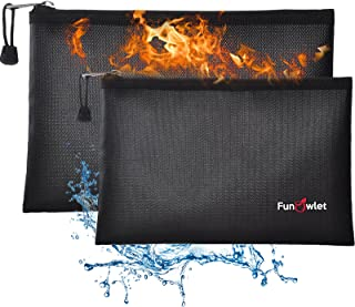 "Fireproof Safe Money Document Bags - 2 Pack 13.4"" x 9.8"" and 10.6"" x 6.7"" Waterproof Zipper Bag, Fire & Water Resistant St..."
