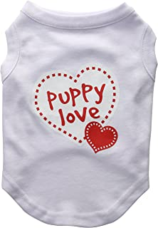 Mirage Pet Products 12-Inch Puppy Love Screen Print Shirt for Pets, Medium, White