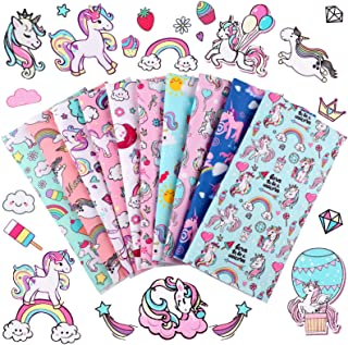 10 Pieces Unicorn Fabric Squares 20 x 20 Inch Precut Quilting Fabric Unicorn Rainbow Cartoon Pattern Fabric Bundles Unicor...
