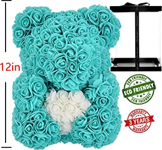 AZXU Rose Bear - Rose Teddy Bear on Every -Flower Bear Perfect for Anniversary's - Clear Gift Box Included! 12 Inche (Tiffany)