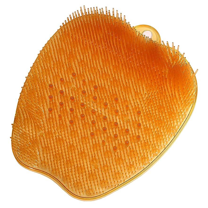 大脳端末バスルーム足洗いマット足洗い用 バスマット フットブラシ 足裏あらいマット 浴室 汚れ角質除去 ストレス解消 オレンジ 26*24*4cm