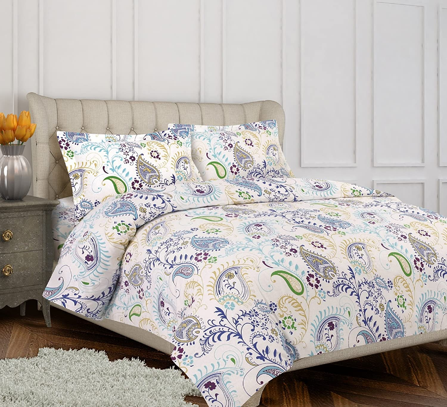 Tribeca Living Flannel Paisley Garden Printed 170 GSM Duvet Cover Set, King California King